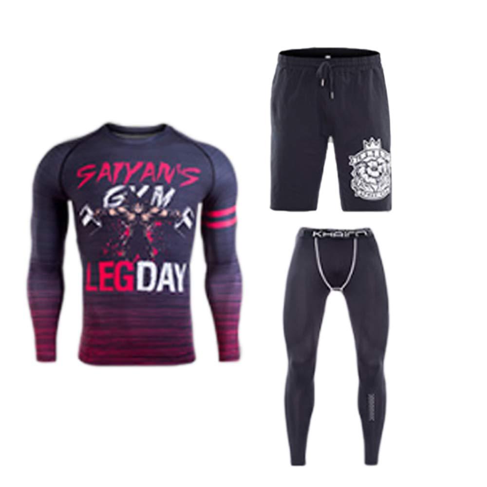 QJKai Sportanzug für Männer Stretch schnell trocknende Kleidung Fitness-Trainingsanzug Outdoor-Laufbekleidung dreiteiligen Anzug