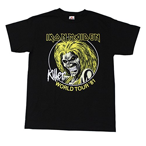Alstyle Men's Iron Maiden Killer World Tour '81 Metal Band T-Shirt Medium Black (Metal Band T-shirt)