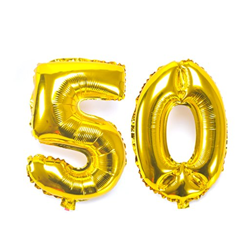 (KIYOOMY 40 inch Number 50 Balloon Gold Gaint Jumbo Foil Mylar Number Balloons for 50 Birthday Party Gold Marriage Wedding Anniversary Celebration Parties Decorations)