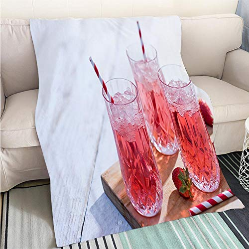BEICICI Luxury Super Soft Blanket Prosecco Bellini Cocktail with Strawberries Sofa Bed or Bed 3D Printing Cool Quilt ()