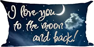 ramirar Word Art Quote I Love You To The Moon And Back Sky Cloud Blue Background Decorative Lumbar Throw Pillow Cover Case Cushion Home Living Room Bed Sofa Car Cotton Linen Rectangular 12 x 20 Inches