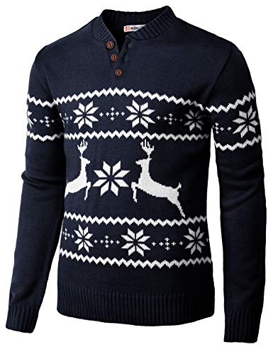 H2H Mens Casual Snowflake Patterned Knitted Long Sleeve Pullover Sweater Navy US 2XL/Asia 3XL (CMOSWL031) ()