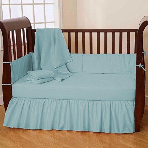 Nursery Baby Mini Crib Bedding Set 100% Egyptian Cotton 500 TC 5-Piece Set Fitted Sheet, Dust Ruffle Skirt,Comforter,Bumper,Pillowcase (Teal,Mini - Ruffle Sheet Pillow Dust Crib