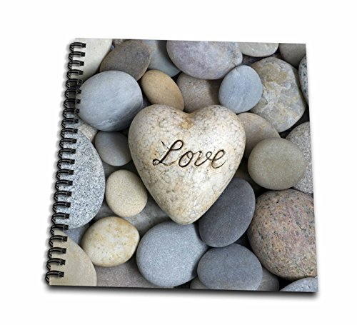 3dRose Andrea Haase Still Life Photography - Heart With Word Love On Pebble Photography - Drawing Book 8 x 8 inch (db_268182_1)