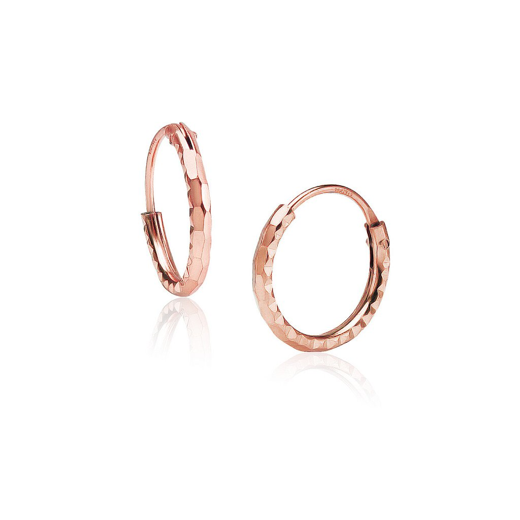 43f64c732 Amazon.com: Sterling Silver Diamond-Cut Tiny Small Endless Hoop Earrings  1.2mm x 10mm Lightweight Unisex Rose Gold Flashed Finish: Jewelry