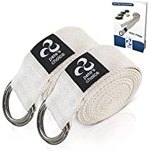 SET OF 2 Yoga Exercise Adjustable Straps 8Ft By Pete's Choice   Thick Cotton With Durable D-Ring For Pilates & Gym Workouts   Hold Poses, Stretch, Improve Flexibility & Maintain Balance   BONUS EBook