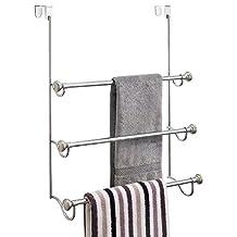 InterDesign York Over the Shower Door Towel Rack for Bathroom - Chrome/Brushed