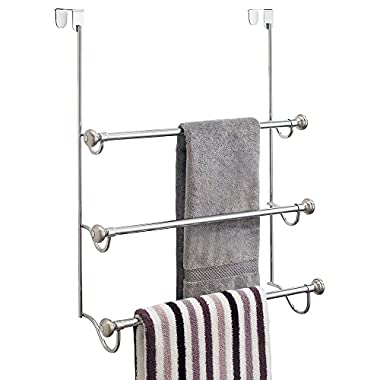 InterDesign York Metal Over the Shower Door 3-Bar Towel Rack, Split Finish