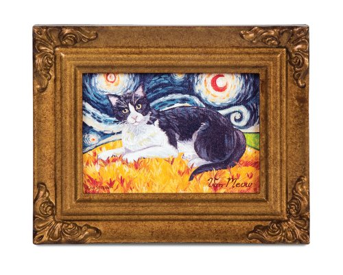 (Pavilion Gift Company 12059 Paw Palettes Framed Canvas Art, 7-1/2 by 6-Inch, Tuxedo Van Meow)