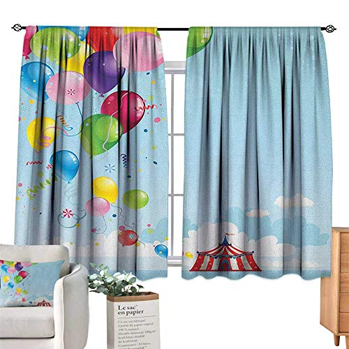 ParadiseDecor Circus,Blackout Draperies for Baby Bedroom Circus Tent and Balloons Clouds Horizon Skyline Fantasy Party Fun Entertainment Room Darkening Wide Curtains W55 x L45