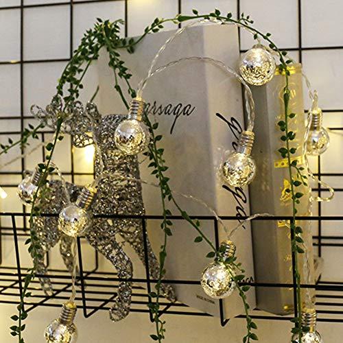 LED Fairy String Lights, LED Ball String Lights, Indoor Outdoor Xmas Lights Globe Fairy String Lights Starry Lights, for Garden, Home, Wedding 1.5/2/3/5m(3m 20 Bulbs,Warm White Light+Silver Bulbs) by Onner (Image #5)