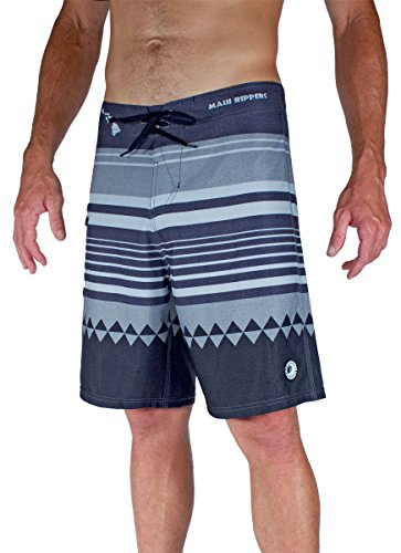 Boardshorts Embroidered Stretch - Maui Rippers Honolua Grey Boardshort 4Way Dobby Stretch (34)
