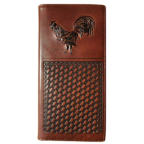 Men's Genuine Leather Wallet Long Bifold Western Wallet Checkbook for Men Father's Day Gift