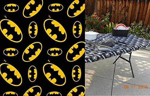 Tablecloths Black Premier - Custom Fitted Stay Put Tablecloth Batman Black and Gold Print. Perfect for BBQ's or Birthday Parties. Can Be Made For Almost Any Size Table