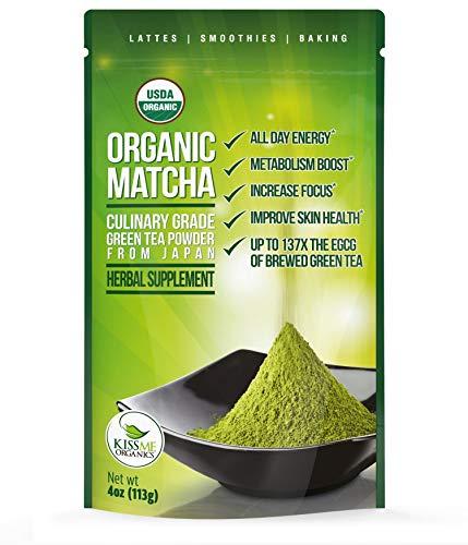 Organic Matcha Green Tea Powder - Japanese Culinary Grade Matcha - 4 oz (113 grams) - Increases Energy and Focus and Naturally Supports Weight Loss - From Kiss Me Organics by Kiss Me Organics