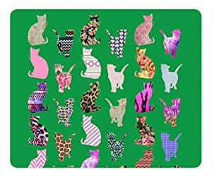 Cartoon Girly Whimsical Cats Aztec Floral Mouse Pad Rectangle by Cases & Mousepads
