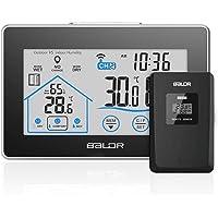 Station Météo sans Fil intérieur extérieur, Thermomètre Hygromètre touchez l'écran LCD Digital pour l'Affichage de température et humidité, Mémoire de Max/Mini…