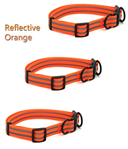 Collar Easy Clean,Buckle Collars for Dogs,Flat Collars for Dog,Safety Reflective Collar,Soft Dog Collar Reflective,Stink Proof Dog Collar,Flashing Night Dog Collar (M, Orange) ()