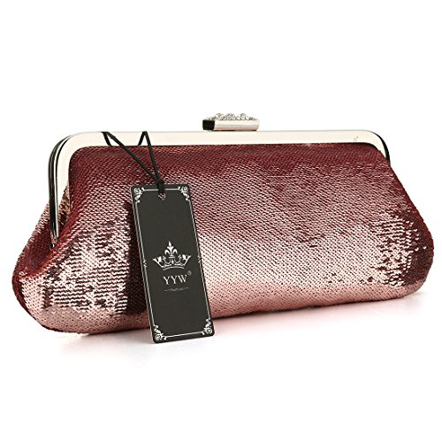 Cocktail Mesh Formal Sequined Antique Clutch Style Evening Purse Red Fully Clutches Women Twq8I1w
