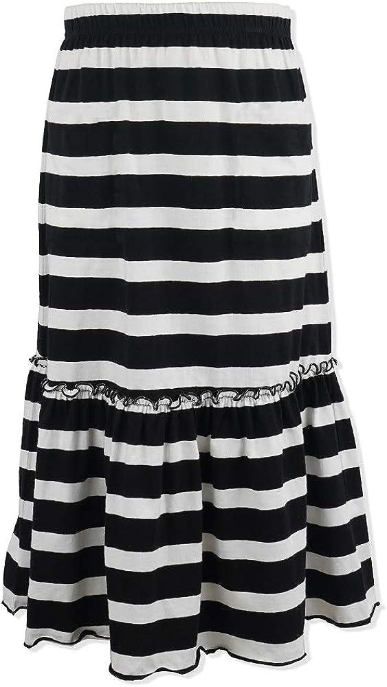 Kid Nation Grils Knit Ruffles Maxi Skirt Elastic Waist A-line Flared Dress 4-12 Years