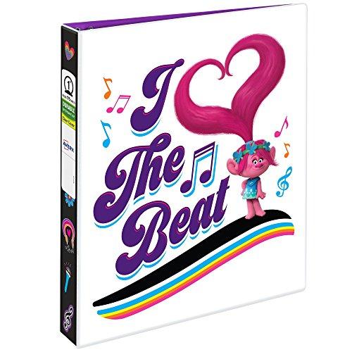 "Avery DreamWorks Trolls Durable Binder, 1"" Round Rings, 175-Sheet Capacity, I Heart The Beat Design (28306)"