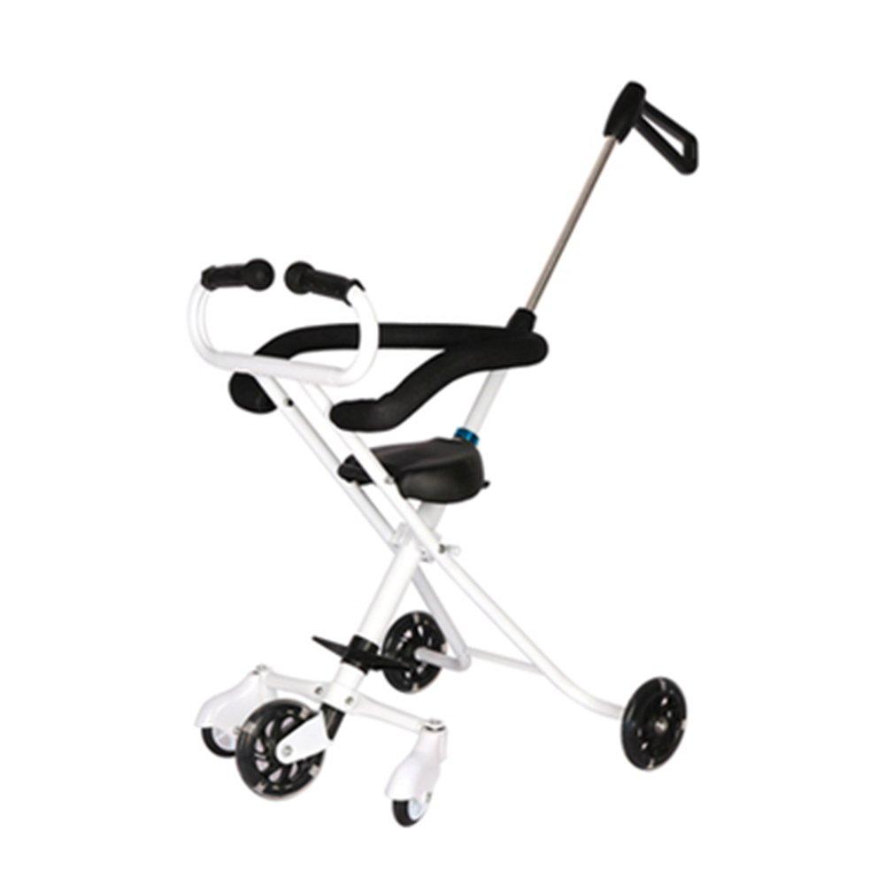 Unbekannt LXZXZ - 5 Räder Faltbare Kinder Reisetrolley Baby Trolley 1-6 Kinder Trolley Schwarz und Weiß Zwei Farben (Farbe : Weiß)