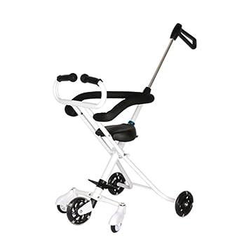Trolley LXZXZ - 5 ruedas carrito de viaje plegable para niños carrito de bebé 1-6 carrito para niños blanco y negro de dos colores (Color : Blanco): ...