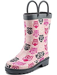 Children's Girls' Owl Printed Waterproof Easy-On Rubber Rain Boots (Toddler/Little Kids)