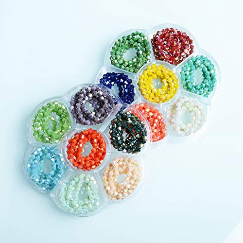 Bicone Crystal Beads - JuleeCrystal AB Colors Faceted Crystal 4mm Beads for Jewelry Making 1500Pcs(Porcelain AB)