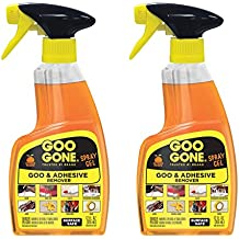 Goo Gone Original Spray Gel - 2 Pack - Removes Chewing Gum Grease Tar Stickers Labels Tape Residue Oil Blood Lipstick Mascara Shoe Polish Crayon etc - 12 Ounce
