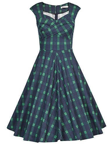 MUXXN Womens Vintage 1930s Cap Sleeve Sheath Waist Casual Tea Dress (Green Plaid (Tartan Tea)