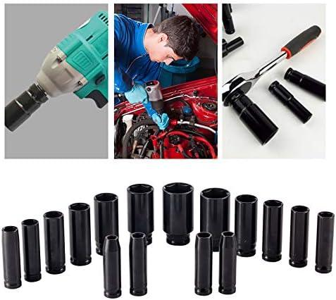 1/2-inch Impact Socket Set, 16pcs Metric Crv Drive Deep Impact Socket Set, 6 Point,10mm-32mm Socket Set with Black Rugged Carrying Case