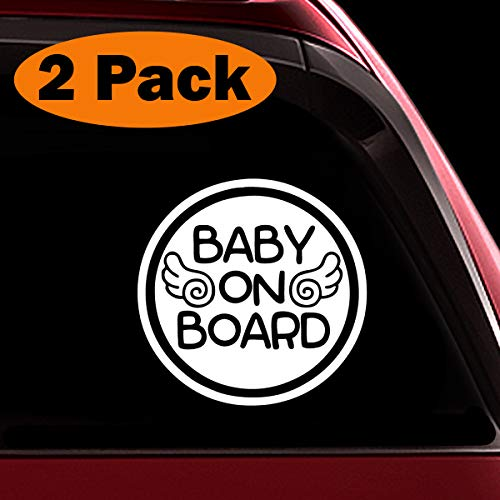 (TOTOMO Baby on Board Sticker - (Set of 2) Safety Caution Decal Sign Stickers for Cars Windows Bumpers - Baby Angel ALI-028)
