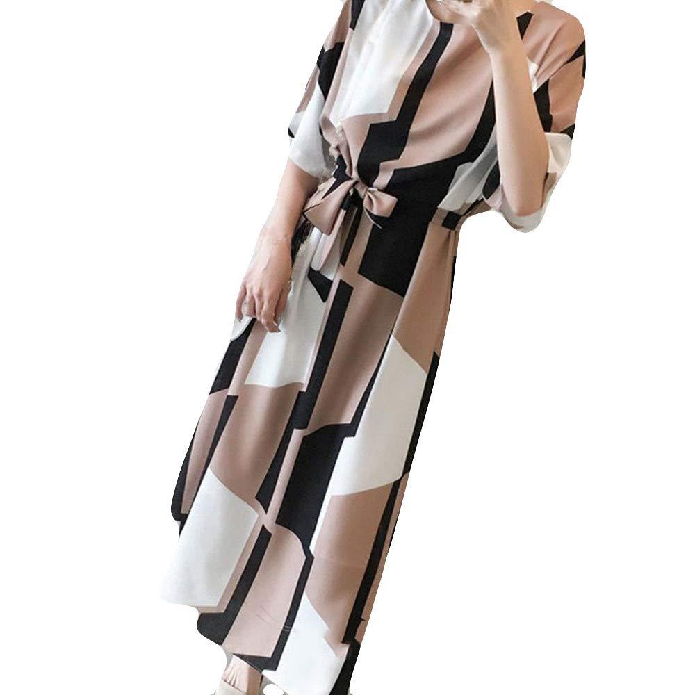 Beikoard Damen Elegant Maxikleid V-Ausschnitt Freizeit Kleider Kurzarm Bandage Rockabilly Kleid Bow Split Ends Kleid Hohe Taille geteilt Sommerkleid