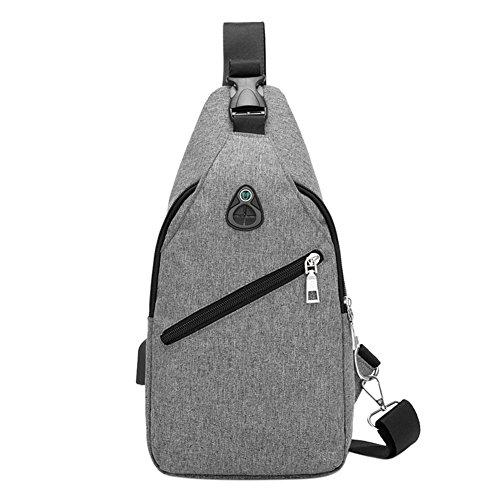 Shoulder Casual Grey Handbag Chest Usb Charge Widewing Bag Men Pack Nylon Sport Crossbody Ixaq4