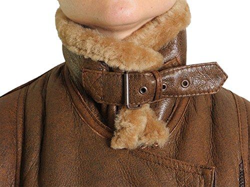 Brandslock mujeres chaqueta de cuero de piel de oveja de vuelo