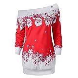 Nesee Womens Merry Christmas Santa Snowflake Print Tops Long Sleeve Long Blouse Sweatshirt (Red, M)