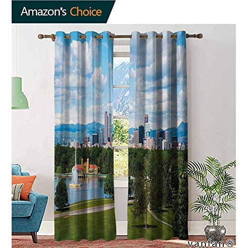 Big datastore Luxury Drapes and Curtains,UrbanCity Park at Denver Colorado Downtown Tree and Architecture Sunny Panorama,Specially Custom for You,Sky Blue Fern Green,W120 xL96 -