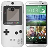 HTC One M8 (New 2014 Model) Case - White Hard Plastic (PC) Cover with Retro Gameboy Design