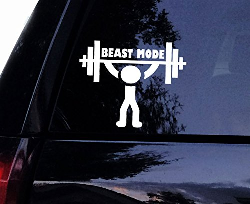 "Beast Mode Weightlifter Decal - Vinyl Gym Fitness Weightlifting Barbells Workout Decal, Laptop Decal, Car Window Wall Sticker (4"", Gray)"