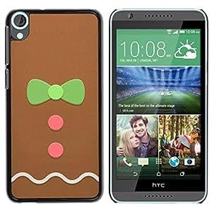 Caucho caso de Shell duro de la cubierta de accesorios de protección BY RAYDREAMMM - HTC Desire 820 - Man Bowtie Pink Green Xmas