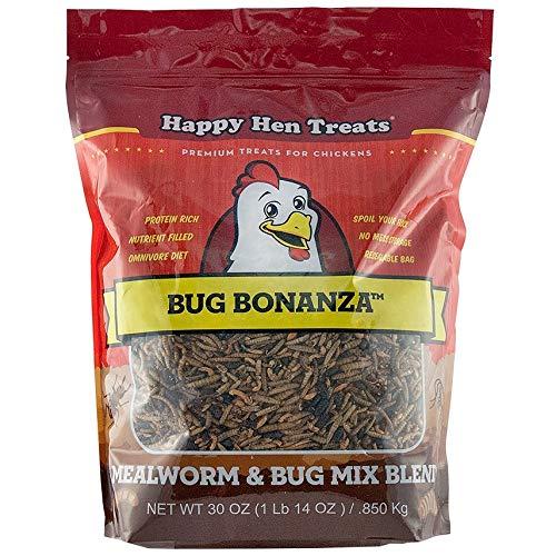 Happy Hen Treats Bug Bonanza, 30 Ounces, Chicken Treat Blend with Fly Larvae, Mealworms, Darkling Beetles, and Gammarus - Shrimp Gammarus