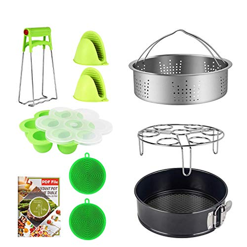 9 Piece Accessories Kits Compatible with Instant Pot 6, 8 Qt - Standard Stainless Steel Steamer Basket, Non-Stick Springform Pan, Egg Rack, Egg Bites Mold, Oven Mitts, Bowl Clip and Silicone Scrub Pad