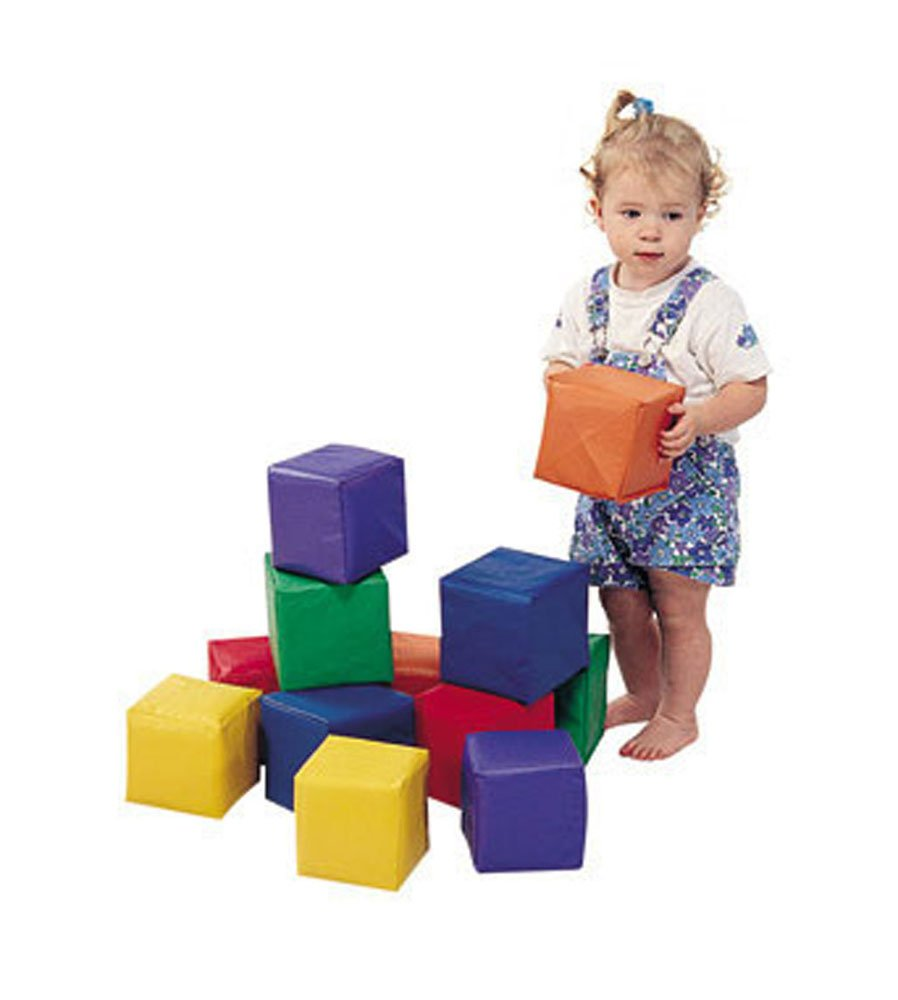 The Children's Factory Toddler Cube Blocks, 5-1/2'', 12/CT, Assorted