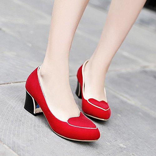 Scarpe Da Donna Con Tacco Grosso E Scarpe Con Tacco Grosso Rosso