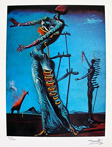 Artwork by Salvador Dali Burning Giraffe Facsimile Signed Limited Edition Giclee Print. After the Original Painting or Drawing. Paper 15 Inches X 11 - Giraffe Burning Dali