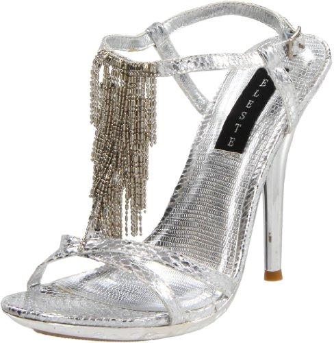 Celeste Women's Tao-02 Ankle-Strap Sandal,Silver,8 M US