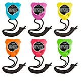 watch champion - Champion Sports Stopwatch Timer Set: Waterproof, HandHeld Digital Clock Sport Stopwatches with Large Display for Kids or Coach - Bright Colored 6 Pack