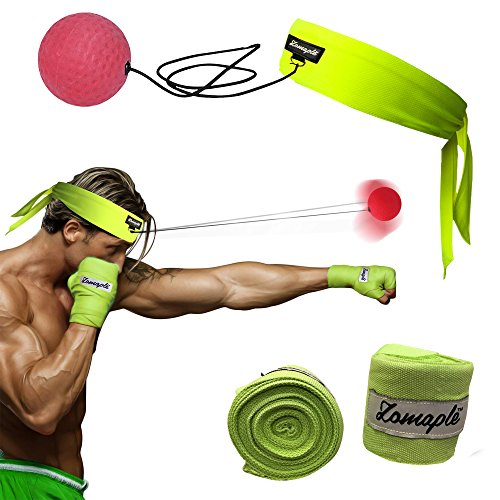 Zomaple Boxing Reflex Ball with Hand Wraps– Reaction Fight Ball on String with Head Band – Punching Speed Ball with Sweatproof Headband & Hand Wraps – Perfect Jabs for Reaction, Agility & Speed