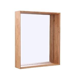 Miroir de Salle de Bains Mural en Bois de Miroir de Salle de Bains carré avec étagère Design décoratif Simple Contemporain pour la Salle de Toilette hôtel (Taille 3)